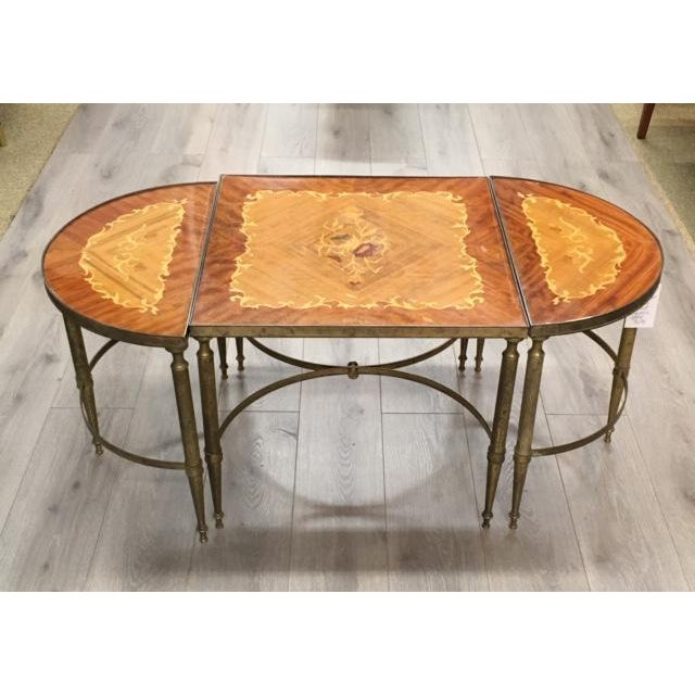 Mastercraft Inlay Wood Three Piece Coffee Table For Sale In New York - Image 6 of 6