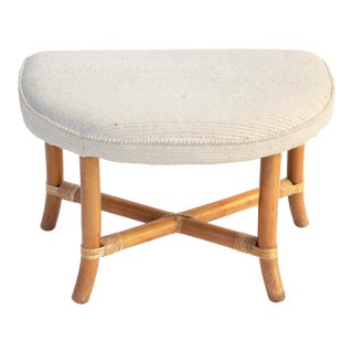 Demilune Ottoman in Rattan by Tommi Parzinger For Sale