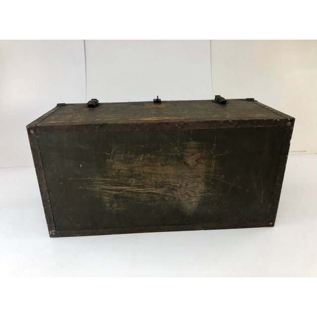 Metal Vintage Military Green Wood Foot Locker Trunk For Sale - Image 7 of 12