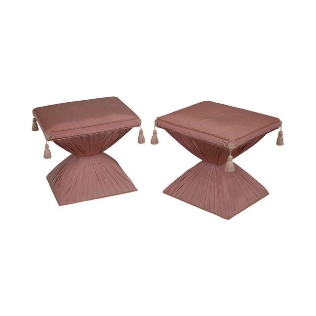 Hollywood Regency Pair Vintage Pink Upholstered Stools For Sale - Image 12 of 12