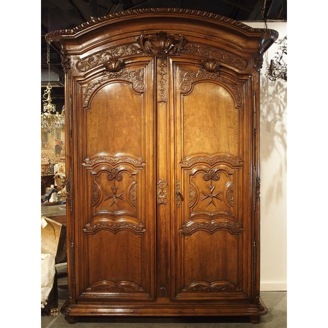 """Early 1700's French Walnut Wood Chateau Armoire, """"The Order of Saint Louis"""" For Sale - Image 11 of 11"""