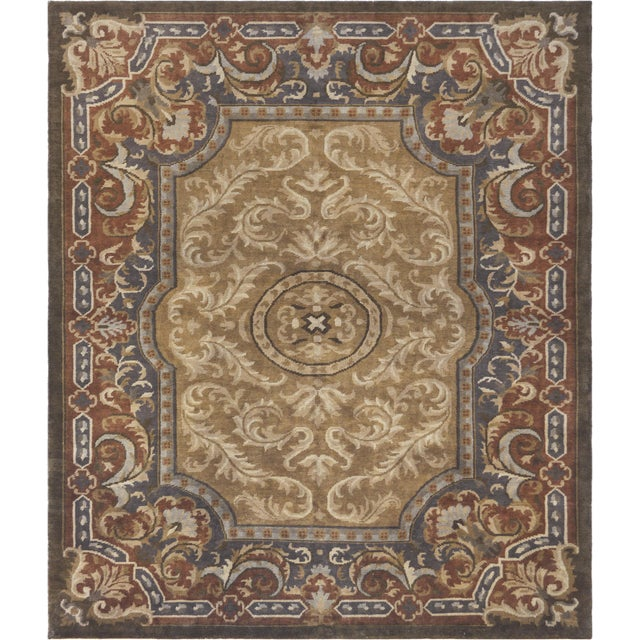 Genuine hand-knotted Savonnerie from Kashmir. This decorative rug features a French Victorian design and masterful color...