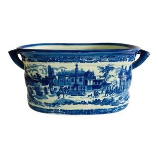 Modern Victorian Style Large Blue & White Porcelain Victoria Ware Ironstone Planter For Sale