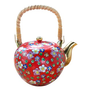 20th Century Chinese Red Floral Gilt Porcelain Teapot With Wicker Handle For Sale