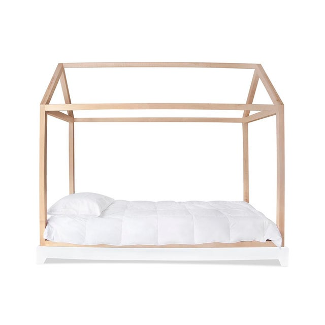 Domo Twin Solid Maple Canopy Bed - also available separately in walnut, or without rails. Custom craftsmanship designed to...