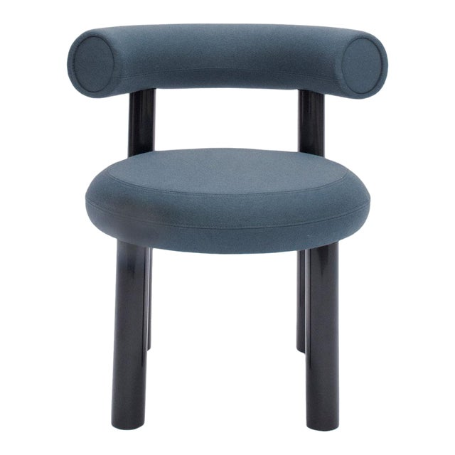 Tom Dixon Blue Gray Upholstery With Metal Gloss Lacquer Leg Dining Chair For Sale