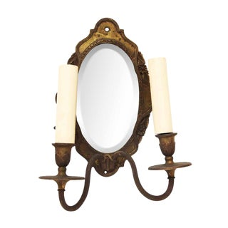 Double Arm Brass Mirrored Sconce For Sale