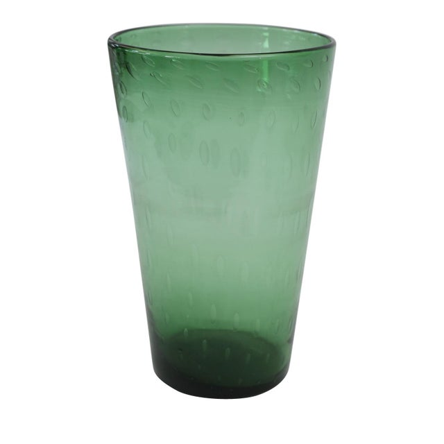 Glass Italian Green Glass Vase For Sale - Image 7 of 7