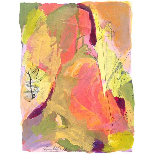 "Someone suggested I entitle this ""Sherbert."" Abstraction of a mountain landscape. Mixed media composed of painted areas..."