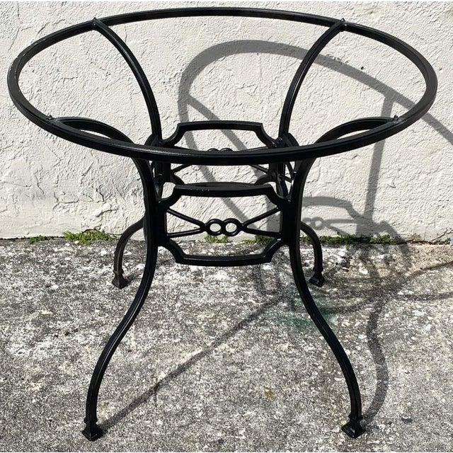 Metal Neoclassical Horse-Bit & Travertine Garden/Patio Table Provenance Celine Dion For Sale - Image 7 of 8