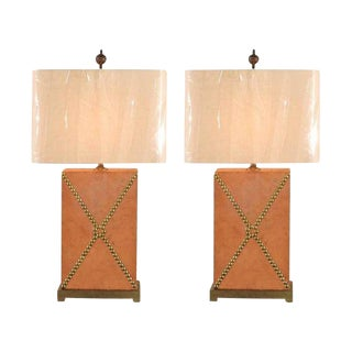 Handsome Pair of Vintage Custom Studded Leather Lamps For Sale
