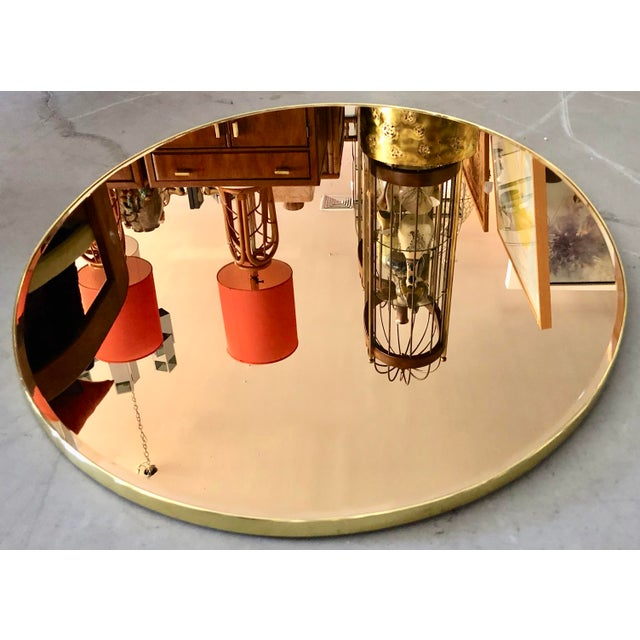 Mid-Century Modern Italian Oval Brass Frame Gold Mirror For Sale - Image 3 of 5