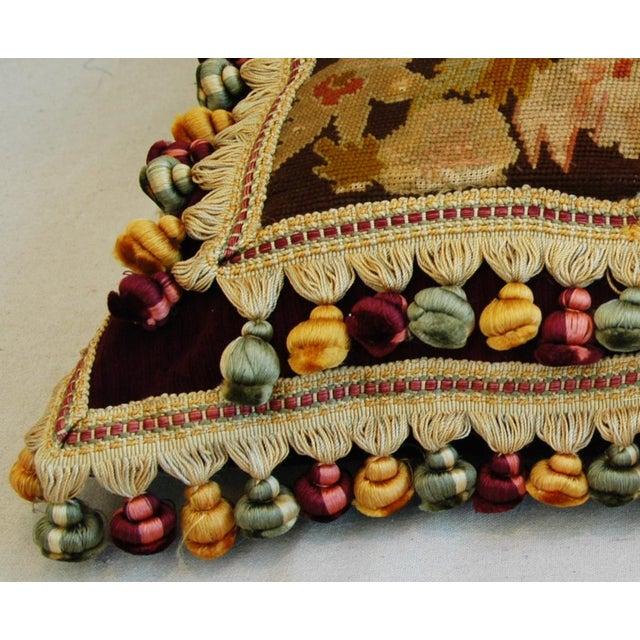 Custom Antique French Needlepoint & Velvet Pillow - Image 9 of 11