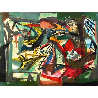 1940s Vintage Josef Presser Abstract Painting For Sale