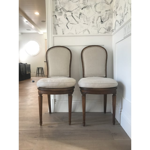 Linen Antique Belgian Linen Dining Chairs - a Pair For Sale - Image 7 of 7