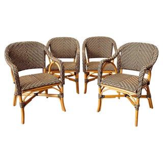Set of Four Palacek Rattan Garden Dining Armchairs For Sale