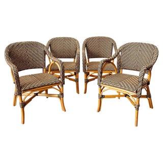 Set of Four Palecek Rattan Garden Dining Armchairs For Sale