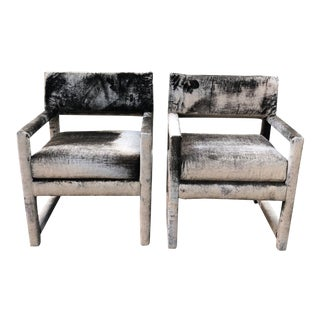 Milo Baughman Style Parsons Chairs- A Pair For Sale