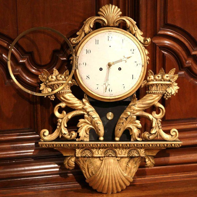 Glass 18th Century French Louis XV Carved Gilt Fruit Basket and Shell Wall Clock For Sale - Image 7 of 10