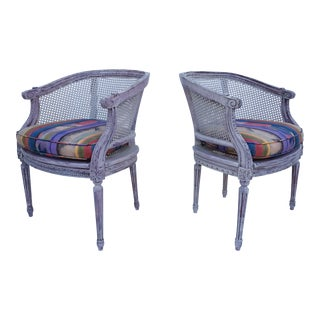 French Louis XVI Carved Wood & Cane Accent Chairs - A Pair For Sale