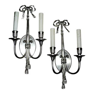 One Pair of Louis XV Style Two Arm Wall Sconces With Silver Fini