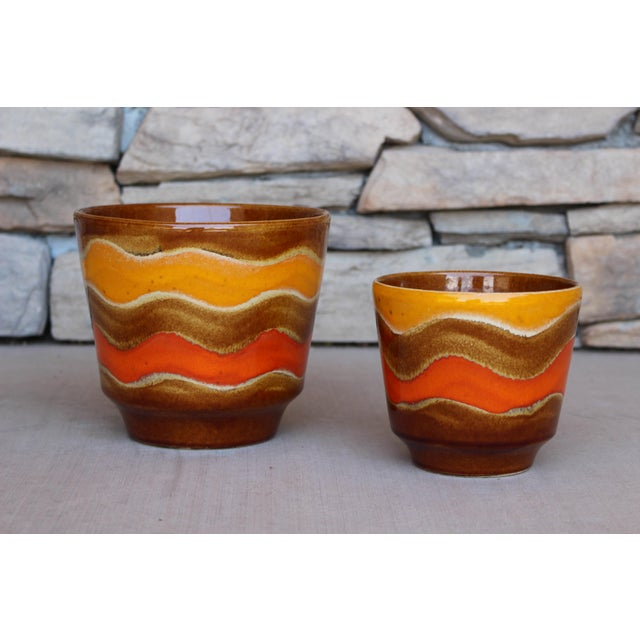 1960s Mid-Century Ceramic Planters - A Pair For Sale - Image 5 of 10