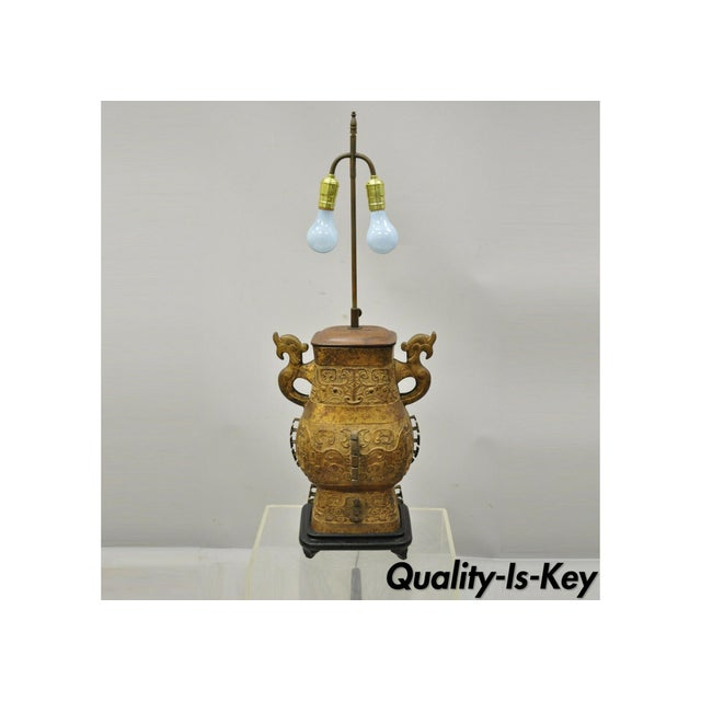Antique Chinese Gilt Bronze & Rosewood Figural Double Light Table Lamp For Sale - Image 13 of 13