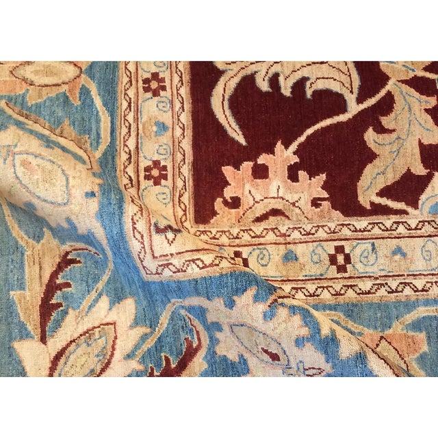 """1990s Kafkaz Peshawar Antoinet Red & Blue Wool Rug - 10'3"""" x 14' For Sale - Image 5 of 7"""
