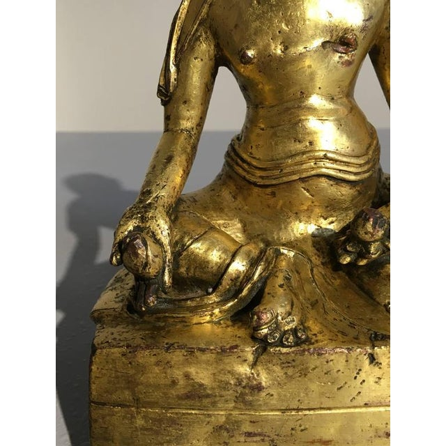 Gold Tibetan Gilt Bronze Figure of an Arhat For Sale - Image 8 of 10