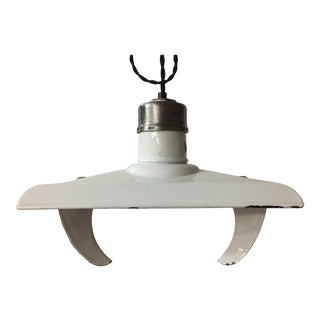 White Tole Industrial Lamp For Sale