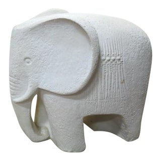 Vintage Mid Century Modern Carved Stone Elephant Statue For Sale