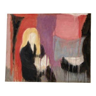 1960s Painted Canvas Abstract Painting For Sale