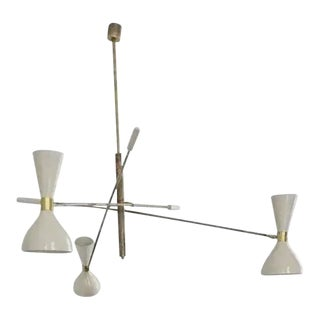 'Triennale' Style Adjustable Three-Arm Chandelier For Sale