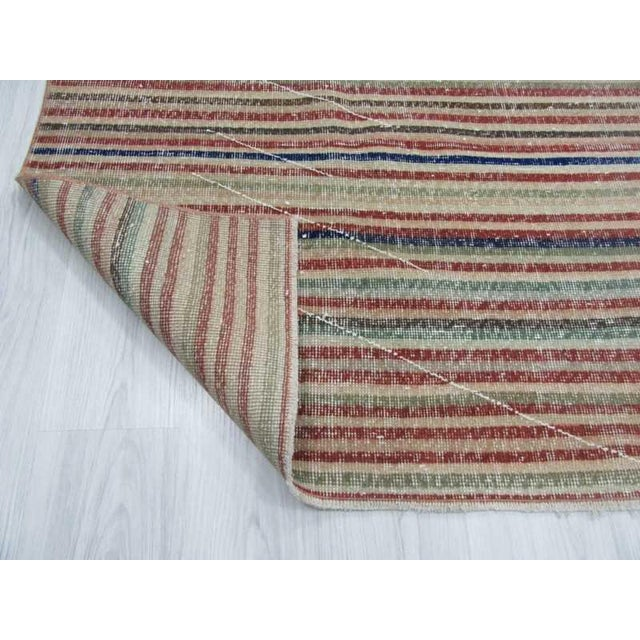 Vintage Turkish Hand-Knotted Striped Area Rug - 3′10″ × 6′7″ - Image 6 of 6