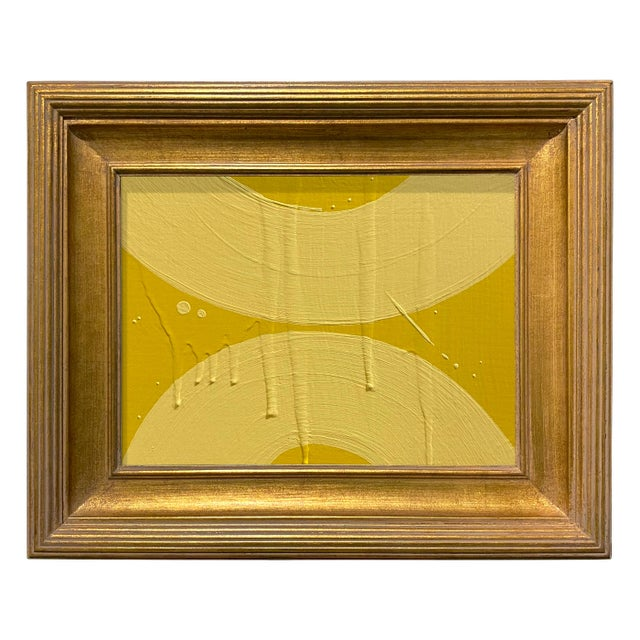 Ron Giusti Mini Wagasa Yellow and Light Yellow Acrylic Painting, Framed For Sale - Image 4 of 4