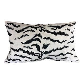 Contemporary Scalamandre White Tigre Viscose Pillow For Sale