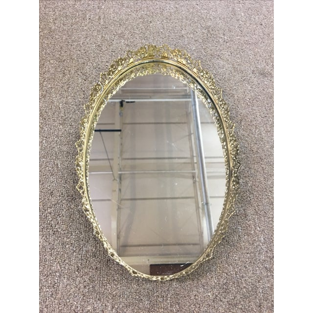 Floral Gilded Mirrored Vanity Tray - Image 2 of 6
