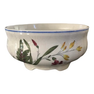Longchamps Hand Painted Wildflower Faience Bowl For Sale