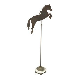 Antique Copper Folk Art Weathervane Style Jumping Horse on Vintage Modified Floor Lamp Base For Sale