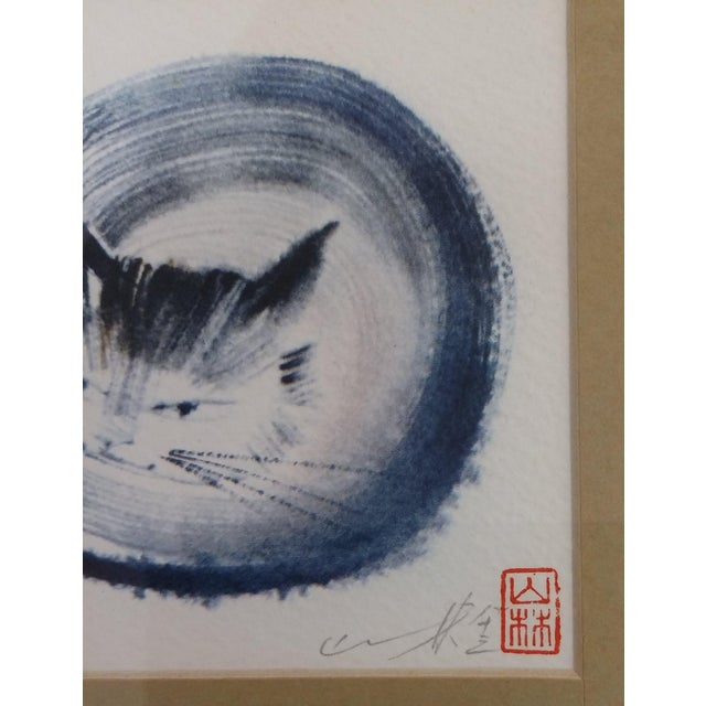 Japanese Collectible Watercolor Cats - A Pair - Image 6 of 10