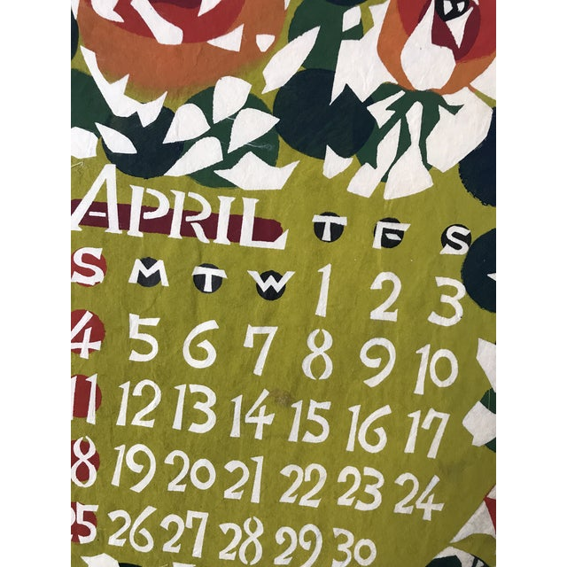 Vintage Japanese Hand Stenciled Wall Art Calendar Print April | Chairish