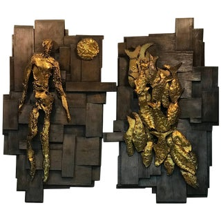 Large Pair of Signed Brutalist Resin Wall Sculptures For Sale