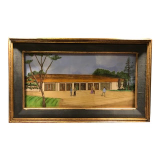 Mid 20th Century Mixed-Media Architectural Drawing by Daniel Kline, Framed For Sale