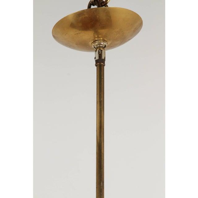 5 Arm Italian brass chandelier with Kalmar glass and candelabra sockets.