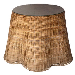 1960s Boho Chic Draped Glass Topped Wicker Table For Sale