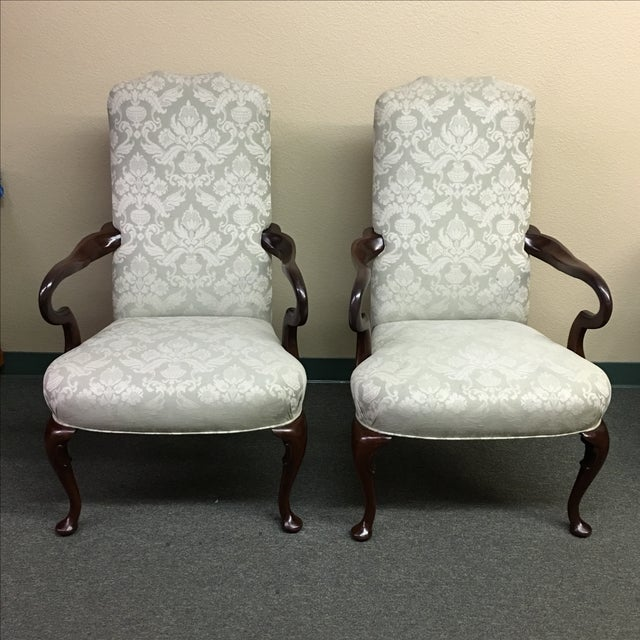 Damask Hickory Chairs - Pair - Image 2 of 9