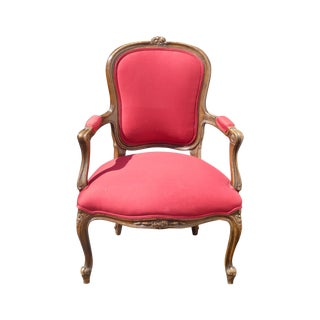 French Provincial Upholstered Red Armchair