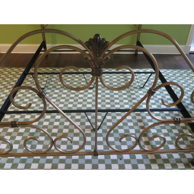 Vintage Victorian Style Metal High Back Queen Size Bed Frame For Sale - Image 9 of 12