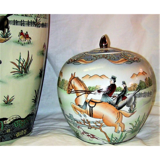 Black Early 20c Chinese Hunt Scene Floor Vase and Lidded Urns For Sale - Image 8 of 13