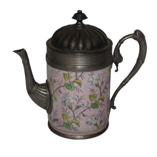 English Enamel Pewter Coffee Pot Pitcher For Sale